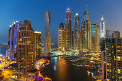 A view of Dubai Marina at Dusk. From the top Royalty Free Stock Images