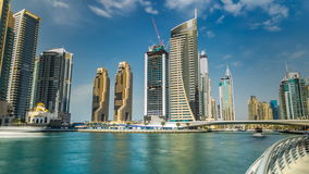 View of Dubai Marina modern Towers in Dubai at day time timelapse stock footage