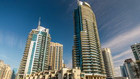 View of Dubai Marina modern Towers in Dubai at day time timelapse stock video footage
