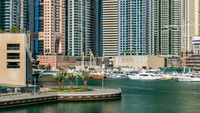View of Dubai Marina modern Towers in Dubai at day time timelapse stock video