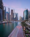Dubai marina. This is a view of the Dubai Marina, one of the most famous areas of the city Royalty Free Stock Images
