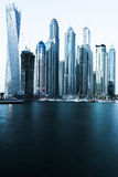 View of Dubai Marina, special photographic processing. UAE royalty free stock images