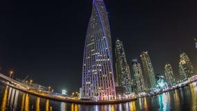 View of Dubai Marina tallest Towers in Duba timelapse hyperlapse stock video footage
