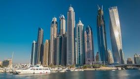 View of Dubai Marina tallest Towers in Dubai before sunset timelapse hyperlapse stock video footage