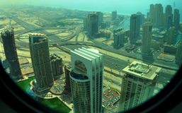 View on Dubai Marina. View from 49th floor on Dubai Marina and JLT - Jumeirah Lake Towers - area , on Sheikh Zayed road, interchange, sea Royalty Free Stock Images