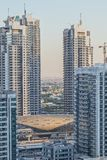 View of the Dubai metro in the middle of the skyscrapers. UAE. Dubai stock photos