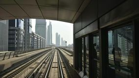 View from The Dubai Metro train during a journey stock footage