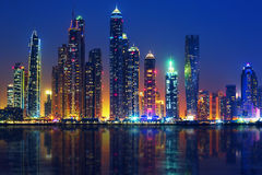 View of Dubai by night Royalty Free Stock Photography