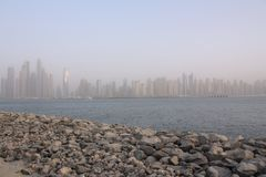 View on Dubai from the Palm Jumeirah, UAE. Stock Photo
