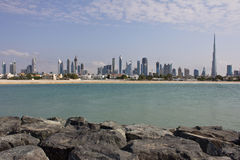 View of Dubai from the sea Royalty Free Stock Photo