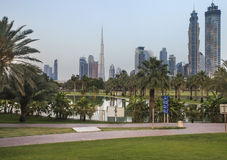 View of Dubai Skyline from the park. View of Dubai Skyline from the Safa park, picture was taken at dusk, just few minutes after sunset Royalty Free Stock Images