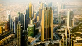 View of Dubai and skyscrapers. From the tallest building in the world, Burj Khalifa, UAE royalty free stock images