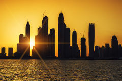 View of Dubai at sunrise Royalty Free Stock Images