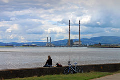 View Of Dublin Bay. A view of  Dublin Bay, Poolbeg and Dublin mountains Royalty Free Stock Image