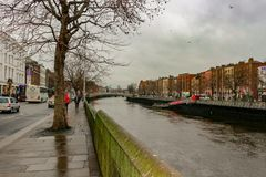View of Dublin canal on a cloudy day royalty free stock photography
