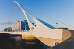 View of Dublin`s famous Samuel Beckett Bridge over the river Lif Royalty Free Stock Photo