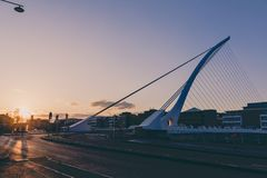 View of Dublin`s famous Samuel Beckett Bridge over the river Lif. DUBLIN, IRELAND - April 30th, 2018: view of Dublin`s famous Samuel Beckett Bridge over the royalty free stock photography