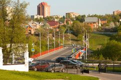 View of Dubrovitsy village and bridge over Pakhra river. stock photo