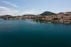 View on Dubrovnik. An amazing view from above on Dubrovnik with houses with tegular red roofs and green hills, Croatia Royalty Free Stock Photography