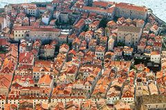 View of Dubrovnik from Mount Sdr. View of Dubrovnik Croatia from Mount Sdr royalty free stock photos
