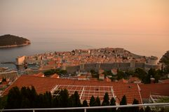 View of Dubrovnik old city. Sunset royalty free stock photography