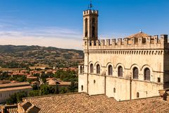 View of the ducal palace. Gubbio Italy: View of the ducal palace and view of the splendid Italian roofs royalty free stock image