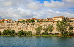 View of the Duero River and part of Zamora, Spain by Via de la P Royalty Free Stock Photos