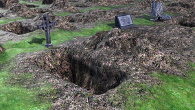 View of the dug grave and the empty grave Stock Photos