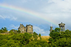 View of Dugald Stewart monument with rainbow, Edinburgh Stock Photography