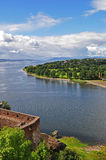 View from Dumbarton Castle. A view across the River Clyde from the battlements of Dumbarton Castle in Scotland, United Kingdom. The site has been occupied since stock photography