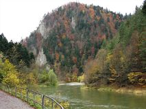 Dunajec River in autumn from a path with a railing, Poland. View of the Dunajec River in autumn with its banks covered with trees with colourful autumn foliage stock photo