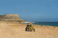View of dune buggy and mountain Stock Photo