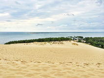 View from Dune of Pilat, France. View from the famous Dune of Pilat Dune du Pilat, the tallest sand dune in Europe, located in the Arcachon Bay area, France Royalty Free Stock Image