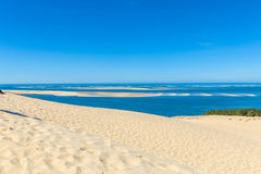 View from Dune of Pyla, Arcachon Bay. View from the highest dune in Europe - Dune of Pyla (Pilat), Arcachon Bay, Aquitaine, France Royalty Free Stock Photo