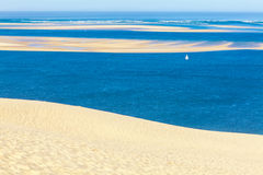 View from Dune of Pyla, Arcachon Bay. View from the highest dune in Europe - Dune of Pyla (Pilat), Arcachon Bay, Aquitaine, France Royalty Free Stock Images