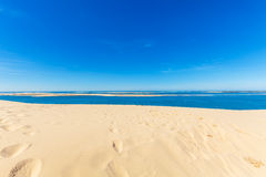 View from Dune of Pyla, Arcachon Bay. View from the highest dune in Europe - Dune of Pyla (Pilat), Arcachon Bay, Aquitaine, France Royalty Free Stock Photography