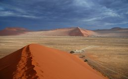 View from Dune 45. Sossusvlei, Namibia. Dune 45 is a star dune in the Sossusvlei area of the Namib Desert in Namibia. Its name comes from the fact that it is at Royalty Free Stock Photo