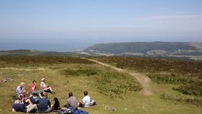 View from Dunkery Hill the highest point on Exmoor to Minehead Somerset England UK stock footage