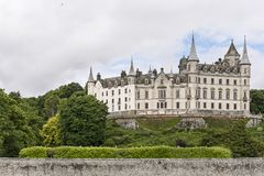 View of Dunrobin Castle from its beach stock photography