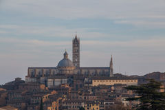 View of Duomo di Siena with old town from north. Tuscany. Italy. stock photos