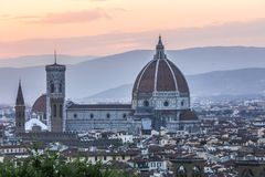 View of Duomo of Florence, Italy, from the distance. royalty free stock image