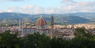 View of the Duomo from Fort Belvedere, Italy stock images