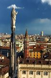 Duomo Milano in Italy. View from Duomo Milano in Italy stock photography