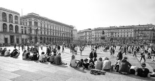 View of Duomo square, Piazza del Duomo in Milan, Italy stock images
