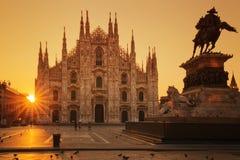 View of Duomo at sunrise. Milan, Europe Royalty Free Stock Image
