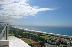 VIEW OF DURBAN NORTH COAST FROM MOSES MABHIDA STADIUM. Cityscape of Durban in Kwazulu Natal from Moses Mabhida viewing platform Royalty Free Stock Photos