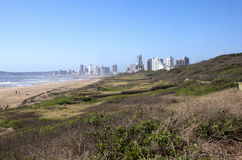 View of Durban's Beach with Hotels in Background royalty free stock images