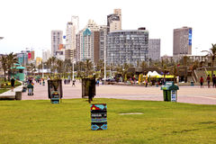 View of Durban South Africas Golden Mile Beachfront. DURBAN, SOUTH AFRICA - DECEMBER 18 2013: Durban beachfront on December 18 2013 in Durban, South Africa royalty free stock image