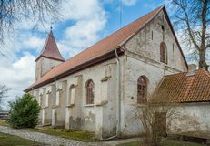View of Durbe Lutheran Church. stock images