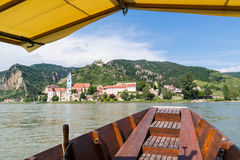View of Durnstein with abbey and old castle from ferry on Danube Stock Image
